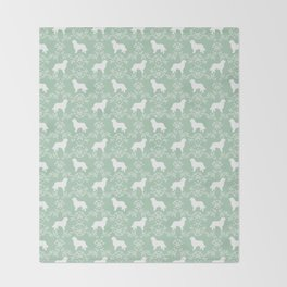 Bernese Mountain Dog florals dog pattern minimal cute gifts for dog lover silhouette mint and white Throw Blanket