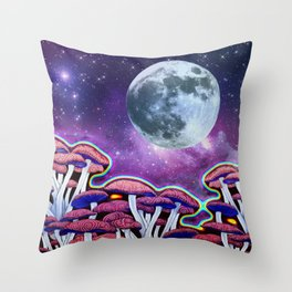 Moon Mushrooms Throw Pillow