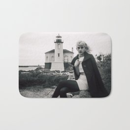 Lost Love at the Coquille River Lighthouse - Holga black and white film photograph Bath Mat