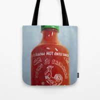 sriracha Tote Bags featuring Sriracha Oil Painting by LVP _