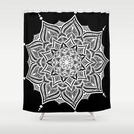 Black mndala for fun Shower Curtain