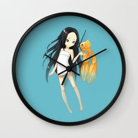 goldfish Wall Clocks featuring Goldfish by Freeminds