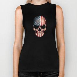 American Flag Skull on Black Biker Tank