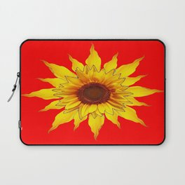 Decorative Yellow Sunflower On Chinese red Art Laptop Sleeve