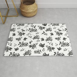 Night in paradise Black and white floral pattern  Rug