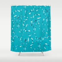 bows Shower Curtains featuring Ribbons & Bows by Haliard
