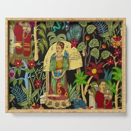 The  Coyoacán Mexican Garden of Casa Azul - Lush Tropical Greenery and Floral Landscape Painting Serving Tray