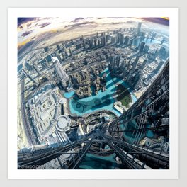 View from the tallest building in the world, the Burj Khalifa in Dubai Art Print