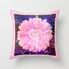 Pink flower with sparkles  Throw Pillow