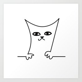 4 Cats on a Line #001, Cat 2, by clodyCats Art Print