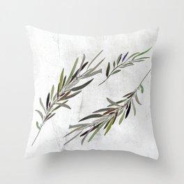 Eucalyptus Leaves White Throw Pillow