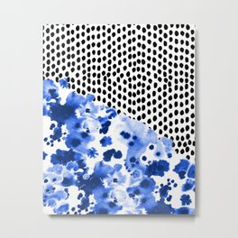 Monroe - India ink, indigo, dots, spots, print pattern, surface design Metal Print