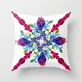 Moroccan Rose Tile Pattern Throw Pillow