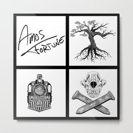 Amos Fortune Folklore Grid Metal Print
