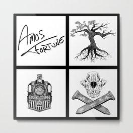 Amos Fortune Folklore Grid Metal Print