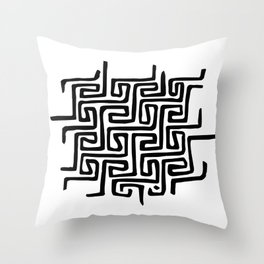 There's always a way out - Black Minimal Maze Throw Pillow