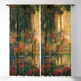 Garden of Enchantment from Parsifal red flowers and roses floral portrait painting  by Thomas Mostyn Blackout Curtain