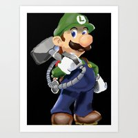 luigi Art Prints featuring Luigi by Halohappy