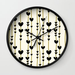 Hearts And Lines Pattern Wall Clock