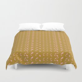 Abstract blush pink mustard yellow watercolor geometrical pattern Duvet Cover