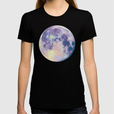Moon Black LARGE Womens Fitted Tee
