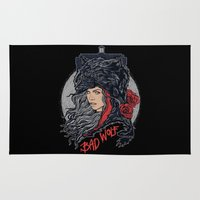 bad wolf Area & Throw Rugs featuring Bad Wolf by zerobriant