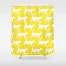 Minimal Cat Pattern Yellow Modern Shower Curtain