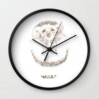 hedgehog Wall Clocks featuring Hedgehog by Tasha Lovsin