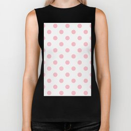 Polka Dots - Pink on White Biker Tank
