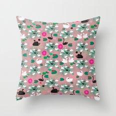 Swan Lake pattern-soft pink Throw Pillow