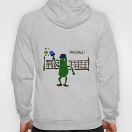 Funny Green Dill Pickle is Playing Pickleball Sport Art Hoody