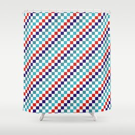 Gridded Red Tale Blue Pattern Shower Curtain