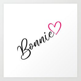Bonnie Name Personalized Pink Calligraphy Heart Art Print