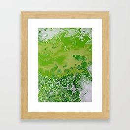 Caribbean Green - Lime Green Bright Fluid Art Framed Art Print