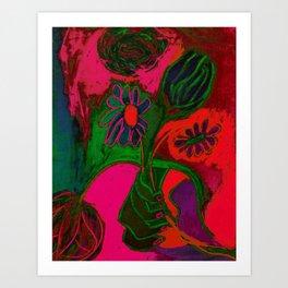 Blacklight Bouquet, Pink Art Print