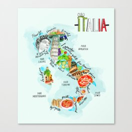 Italy map Canvas Print