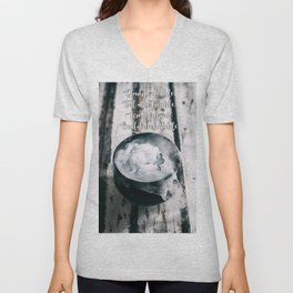 Halloween: Bubbling Witch's Cauldron Filled With Magical Potion On Weathered Wood Unisex V-Neck