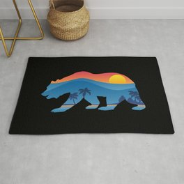 California bear with superimposed mountains and beach shoreline Rug