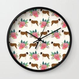 Saint Bernard florals dog breed floral bouquet dog pattern minimal pet friendly Wall Clock