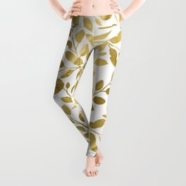 Gold Leaves on White Leggings