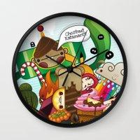 katamari Wall Clocks featuring Chestnut Katamari by Ed Warner