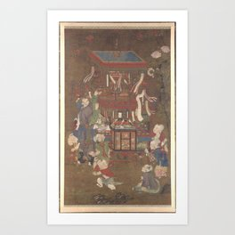 Anonymous bright colors on silk traders alongside the Birds Bird peddler ,late 15th–early 16th centu Art Print
