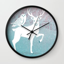 Winter In The White Woods Wall Clock