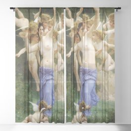 """William-Adolphe Bouguereau """"The Invasion (The Wasp's Nest)"""" Sheer Curtain"""
