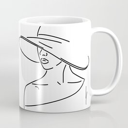 Outline Drawing Woman With A Hat Coffee Mug