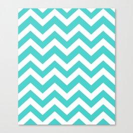 Medium turquoise - turquoise color - Zigzag Chevron Pattern Canvas Print