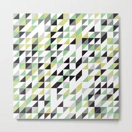 Green Triangle Pattern Metal Print