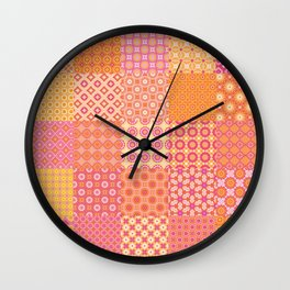 25 Designs Patchwork Tiles in Orange Pink and Yellow Wall Clock