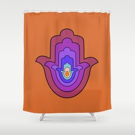 Hand of Fatima - Hamsa Hand - Orange Shower Curtain