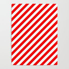 Australian Flag Red and White Candy Cane Diagonal Stripes Poster